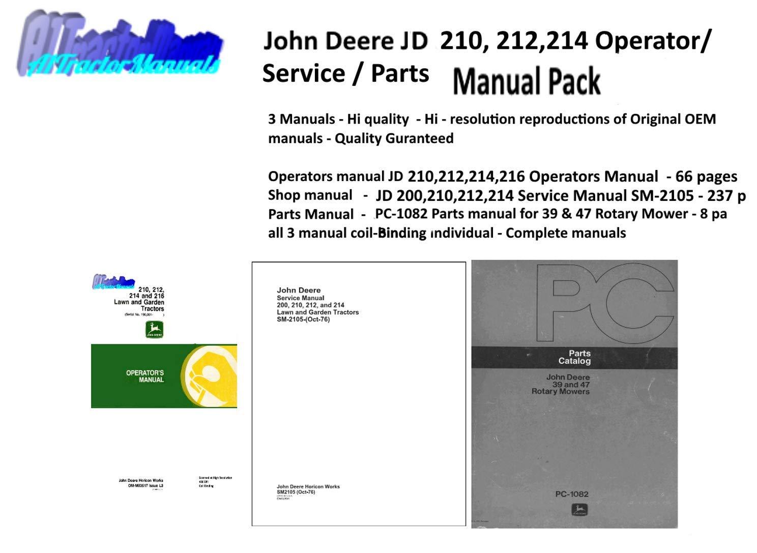 Amazon.com: John Deere JD 210, 212, 214, 216 Lawn & Garden Tractor Manual  Pack: Garden & Outdoor