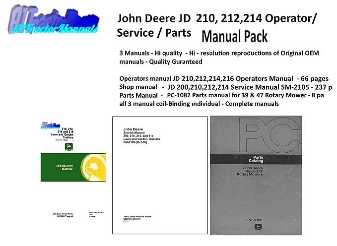 John Deere JD 210 212 214 216 Lawn Garden