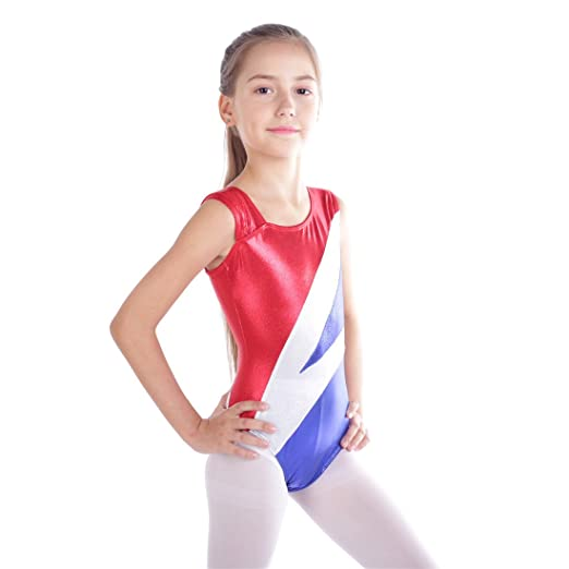 8687667cf08d Gymnastics Leotards For Girls Shiny Spliced Diamond Mermaid Tank Athletic Dancing  Leotard (Red, 110