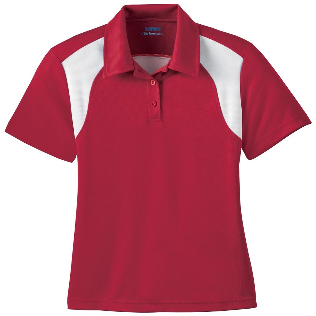 Ash City Ladies E Performance Polo (Large, Classic Red/White) by Ash City Apparel