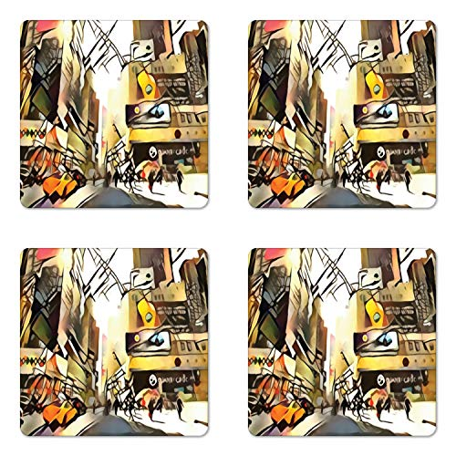 Lunarable Urban Coaster Set of Four, Abstract Interpretation of Metropolis City Street with Buildings and People Print, Square Hardboard Gloss Coasters for Drinks, Multicolor