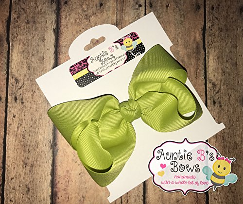 Solid Pistachio Green Boutique Hair Bow 4