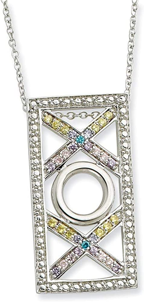 925 Sterling Silver Polished Spring Ring Rhodium-plated Cubic Zirconia Love and Kisses 18inch Necklace