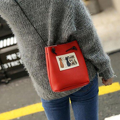 LHWY Bolsa De Cubo Gato Bolsos De Mano Para Mujer Bolsa De Gato Mujer Bolsa De Mensajero Bolso Crossbody Bolso De Mano Rojo