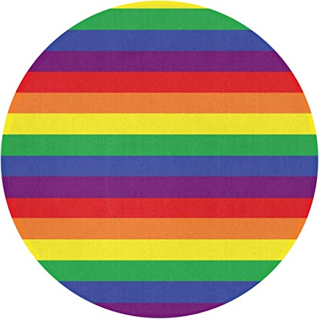 Amazon Com Round Rug Lgbt Rainbow Pride Stripes Soft Circular Area Rug Bedroom Durable Circle Carpet Nursery Mat 24 Inch Kitchen Dining