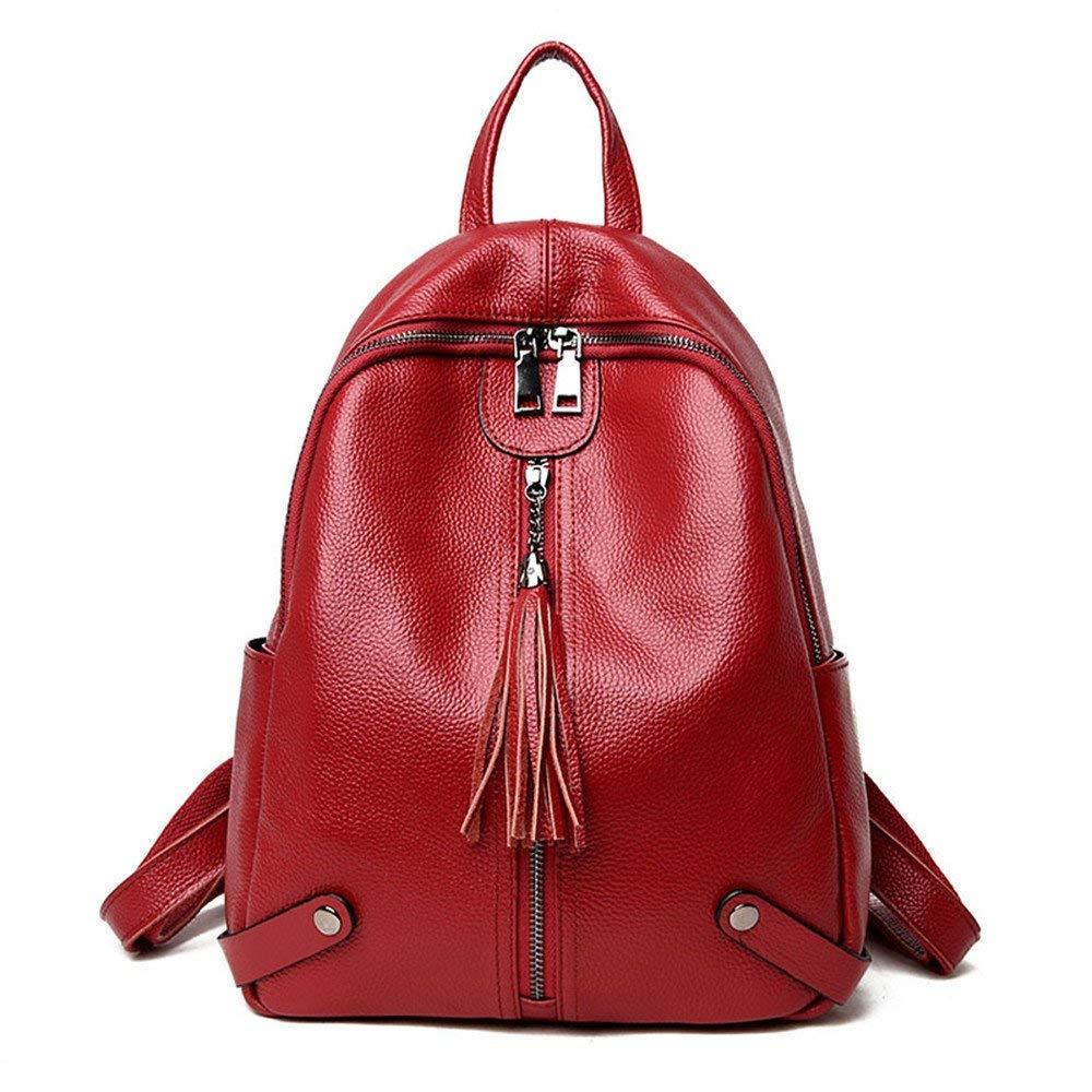 Laisla fashion ラップトップバックパック革の女性のバッグデュアルショルダーバッグ本物の革のバッグ2018スタイリッシュで汎用性の高い旅行バッグワインレッドの新しい韓国語版 One Size Colour B07R22PQ61
