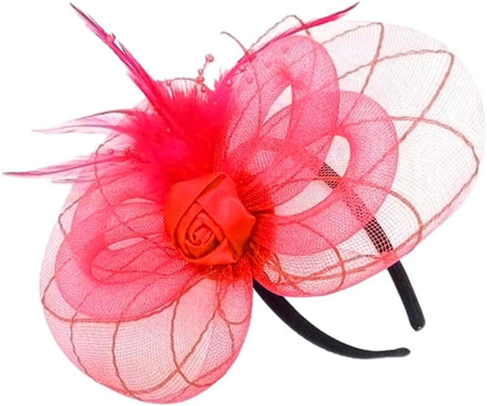 Vococal - Diadema Tocado Adornos para Pelo con Encaje de Malla Floral y Cuero/Accesorios para Cabello para Mujer Chicas para Fiesta Boda Horquillas Decorativas,Rojo