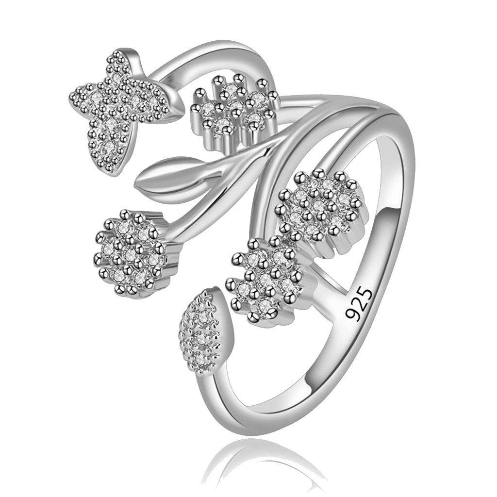 Orris Women Sterling Silver Flower Butterfly Crystal Mounted Adjustable Wrap Open Ring