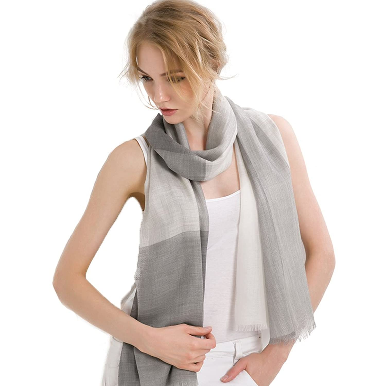 Mingxin womens pure cashmere pashm long length checks pattern ladies shawl wrap