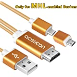 aceyoon Micro USB to HDMI Android Cord 1080P Mobile High Definition Link Cable MicroUSB 5 Pin 11 Pin HDTV Adapter for Samsung Sony Android Smart Phone or Tablets
