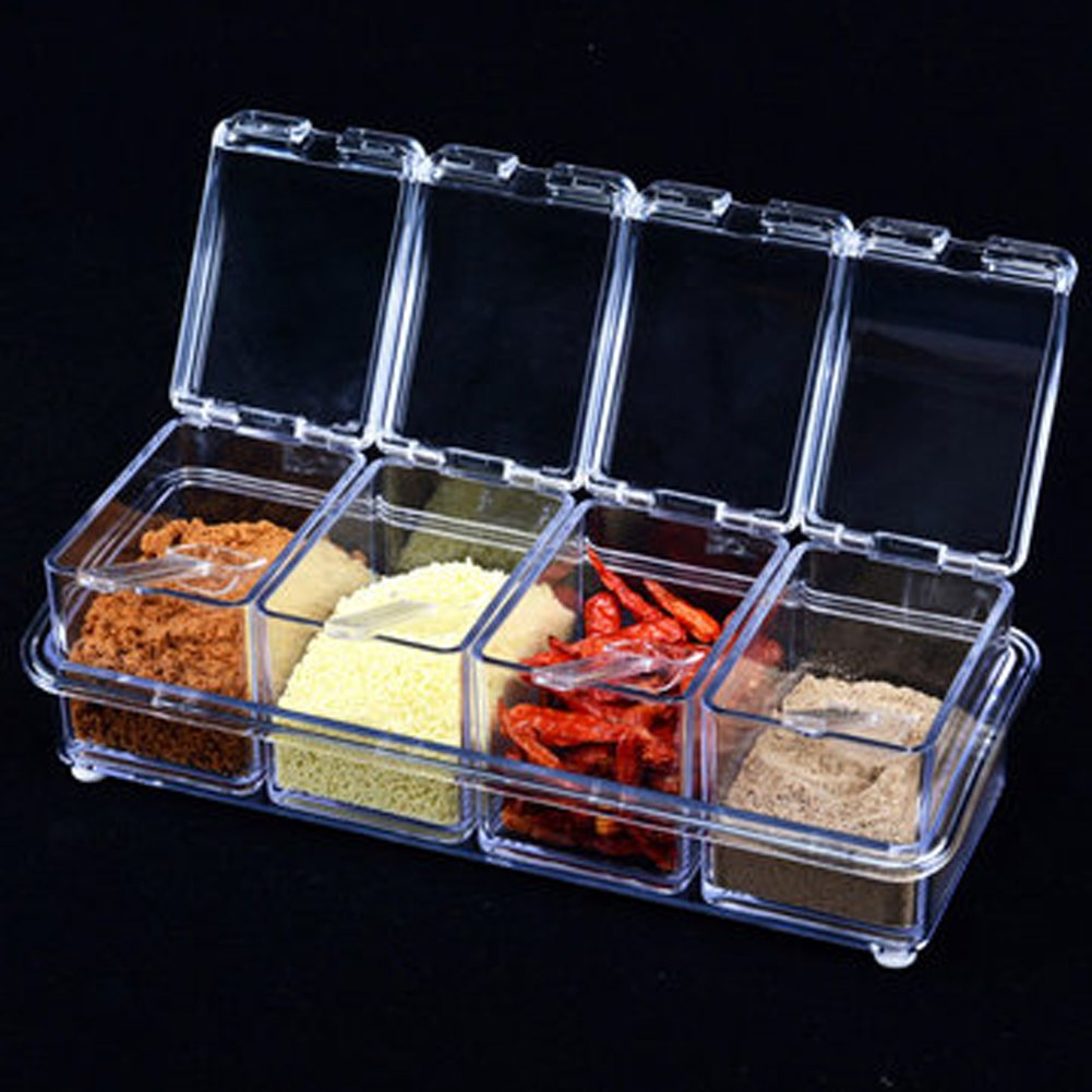 Gourmet Acrylic Seasoning Box, 4 Pieces Clear Spice Pots Seasoning Storage Container with 4 Serving Spoons for Spice Salt Sugar Cruet