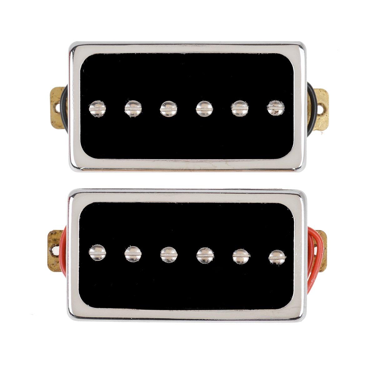 Kmise Guitare électrique Micros à bobine simple pont et ensemble de cou pour les Paul LP les pièces de rechange Noir avec cadre chromé Ltd
