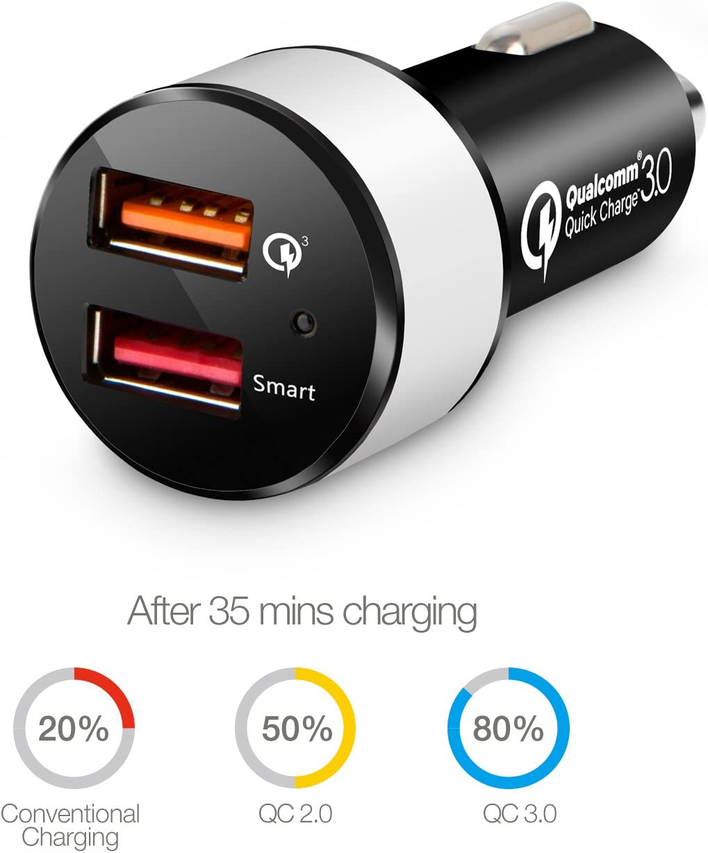 LG V34 Quick Charge 3.0 Car Charger Tablet /& More iKits 30W Dual USB Car Phone Charge Adapter QC3.0 USB for Galaxy S9+//S9//S8+//S8//Edge 5V//2.4A Smart IC for iPhone XR//8//7,iPad Pro//Air//Mini Moto G6