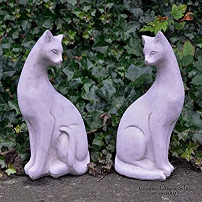 Pair of Siamese Stone Cats Garden Ornament