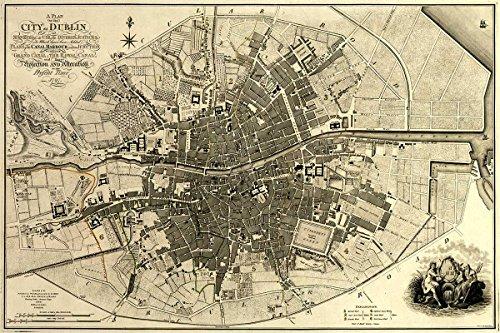 "MAP of the City of DUBLIN Ireland circa 1797 - measures 24"""