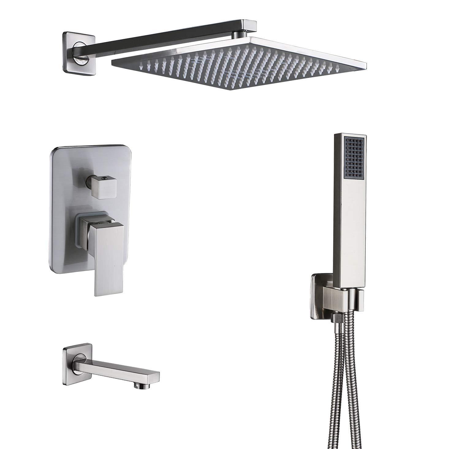 Rozin Brushed Nickel 3 Way Shower Kit Bathtub Shower Faucet Set 12