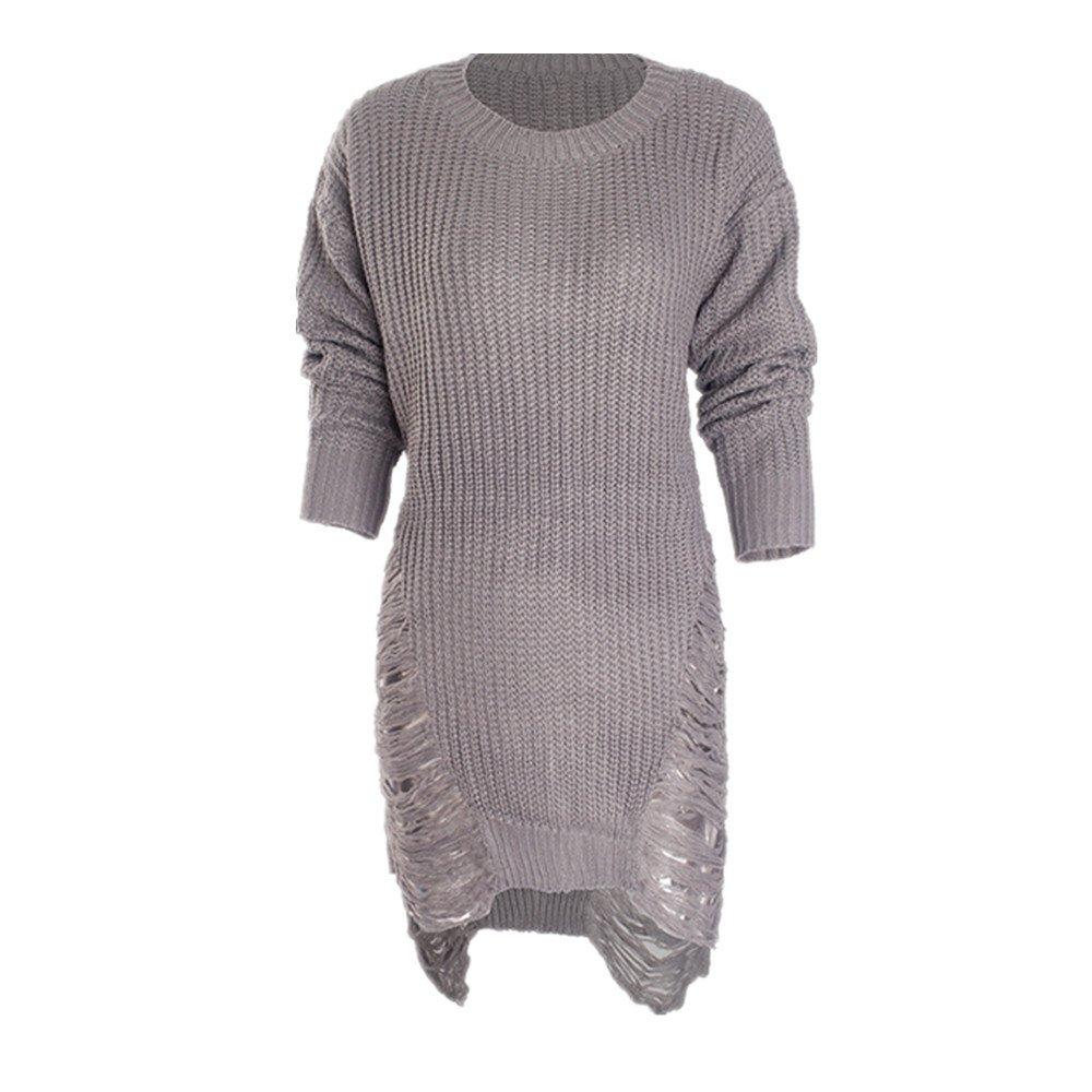 Ansenesna Kleid Damen Pullover Herbst Winter Strick Schlicht Langarm Elegant Mini Kleider Frauen Locker Mode
