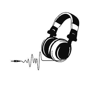 Vinyl Wall Decals Dj Headphones Audio Music Pulse Sign Decal Sticker