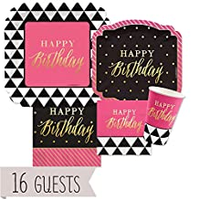 Chic Happy Birthday - Pink, Black with Gold Foil - Party Tableware Plates, Cups, Napkins - Bundle for 16
