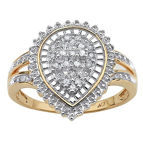 White Diamond 10k Gold Pear-Shaped Ballerina-Set Ring (.10 cttw, HI Color, I3 Clarity) - Ballerina Gold Ring
