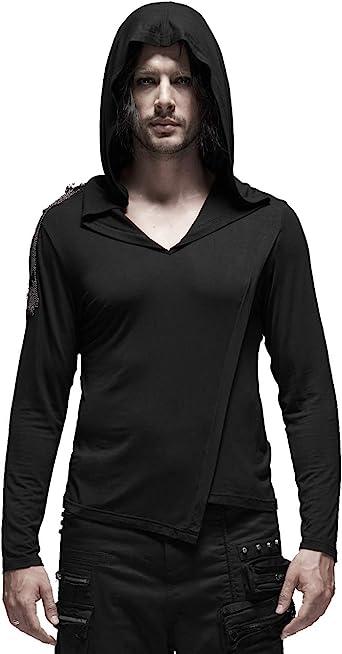 Punk Rave - Camiseta con capucha para hombre, con costuras ...