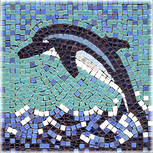 - DIY Mosaic Art Kit 5.9'' Square, 15x15cm, daulphin
