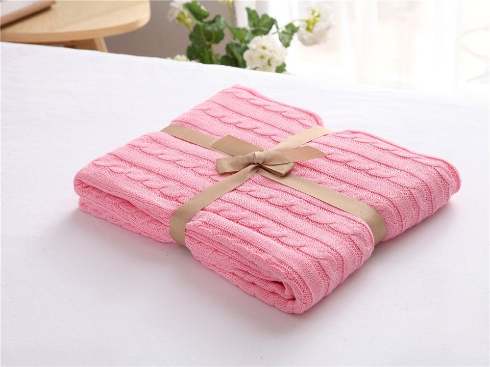 Carpet Home Manta de algodón Casual Manta de Oficina sofá (Color : Bright Red, Size : 120 * 180CM)