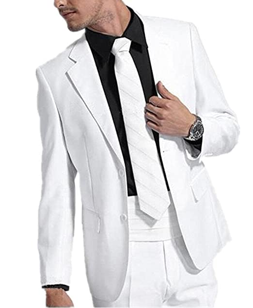 Amazon.com: botong playa de verano blanca Hombres Suit 2 ...