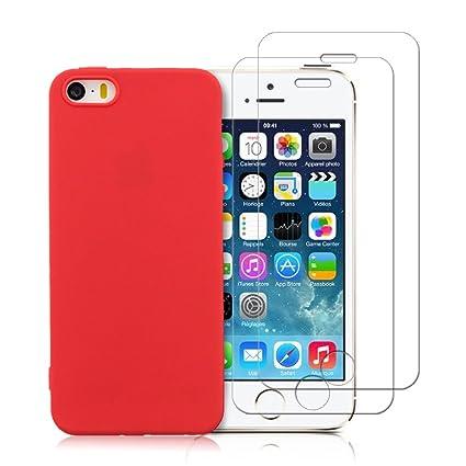 8459235be68 Funda + [2 Pack] Cristal Vidrio Templado para iPhone 5/5S Protector ...