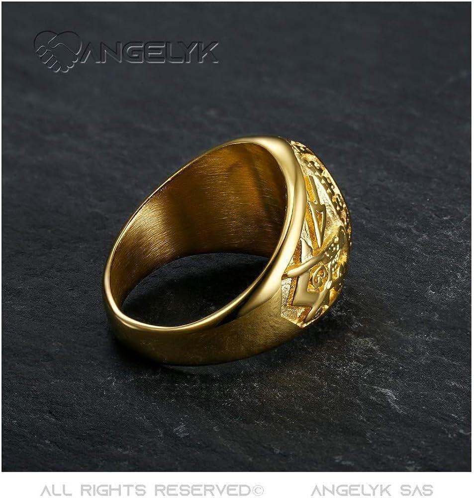 BOBIJOO Jewelry Chevali/ère Bague Franc-Ma/çonnerie Ma/ître Ma/çonnique Or Dor/é Plaqu/é Bleu Nuit Acier 316L