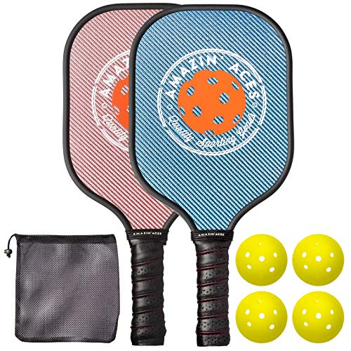 Amazin Aces Pickleball Paddle Set | Pickleball Set Includes Two Graphite Pickleball Paddles + Four Balls + One Mesh Carry Bag | Rackets Feature a Graphite Face & Polymer Honeycomb Core (Blue & Pink)