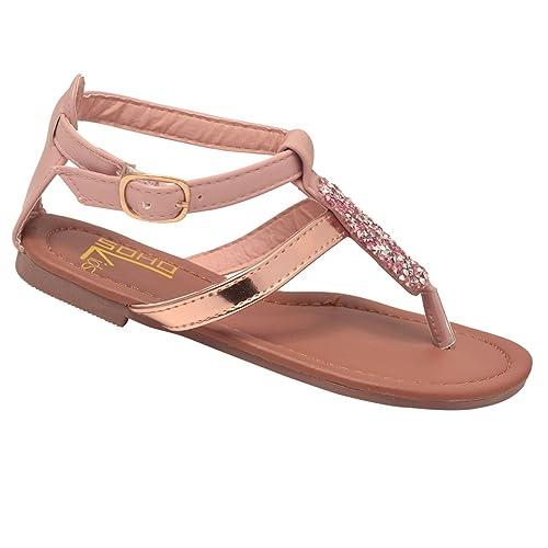 c291c8cb7fc9e Soho Kids Polished Leatherette T-Strap Jeweled Bling Sandal (Toddler Little  Girl