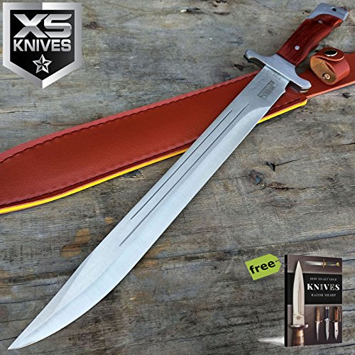 """18"""" FULL TANG RAMBO Carbon Steel Sharp Blade Sword MACHETE TACTICAL SURVIVAL HUNTING FIXED Fixed Blade Knife + Free eBook by SURVIVAL STEEL"""
