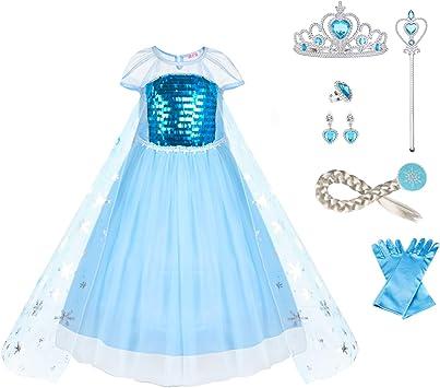 URAQT Disfraz Frozen Niña, Disfraz Elsa Frozen, Disfraz Elsa ...
