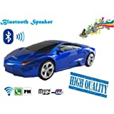 Bluetooth Wireless Portable Blue Lamborghini Shape Car Mini Music Speaker Support Tf Card, Usb, Fm Radio Function (Blue)