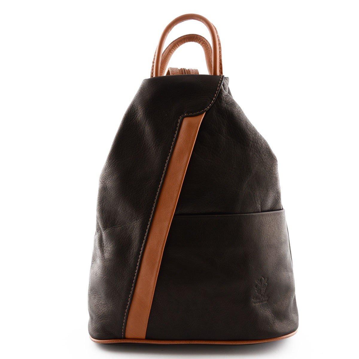 Woman Leather Backpack Color Dark Brown Cognac