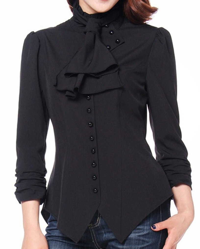 (XS-28) Pearl Goddess - Black Pearl Button Victorian Gothic Blouse Top (P28)