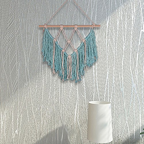 16x18inch Woven Wall Hanging Handmade Cotton Macrame Wall Hanging with Wood Stick Bohemian Wall Decor Wall Art Tapestry for Living Room (Blue) (Wool Wall Tapestry)