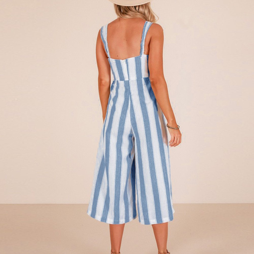 UMei Jumpsuit for Women Rompers Fashion Stripe Strappy Holiday Sleeveless Women Jumpsuit Trousers Summer