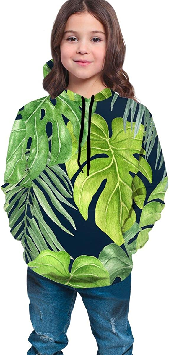 Youth 3D Print Tropical Green Leaf Pullover Hooded Sweatshirt