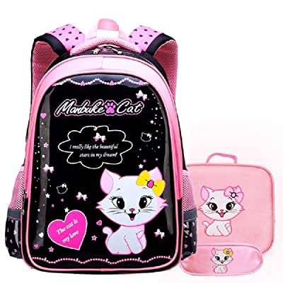 JIUFENG 3 Pcs Girls Princess Backpack Korean Cute Schoolbag + Shoulder Bag + Stationery Bag: Clothing