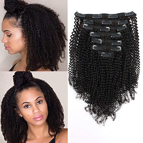 AmazingBeauty 8A Grade Thick Real Remy Human 4B 4C Double Weft Kinkys Coily Clip Hair Extensions for African American Black Women, Natural Black, 120 Gram, 14 Inch from AmazingBeauty