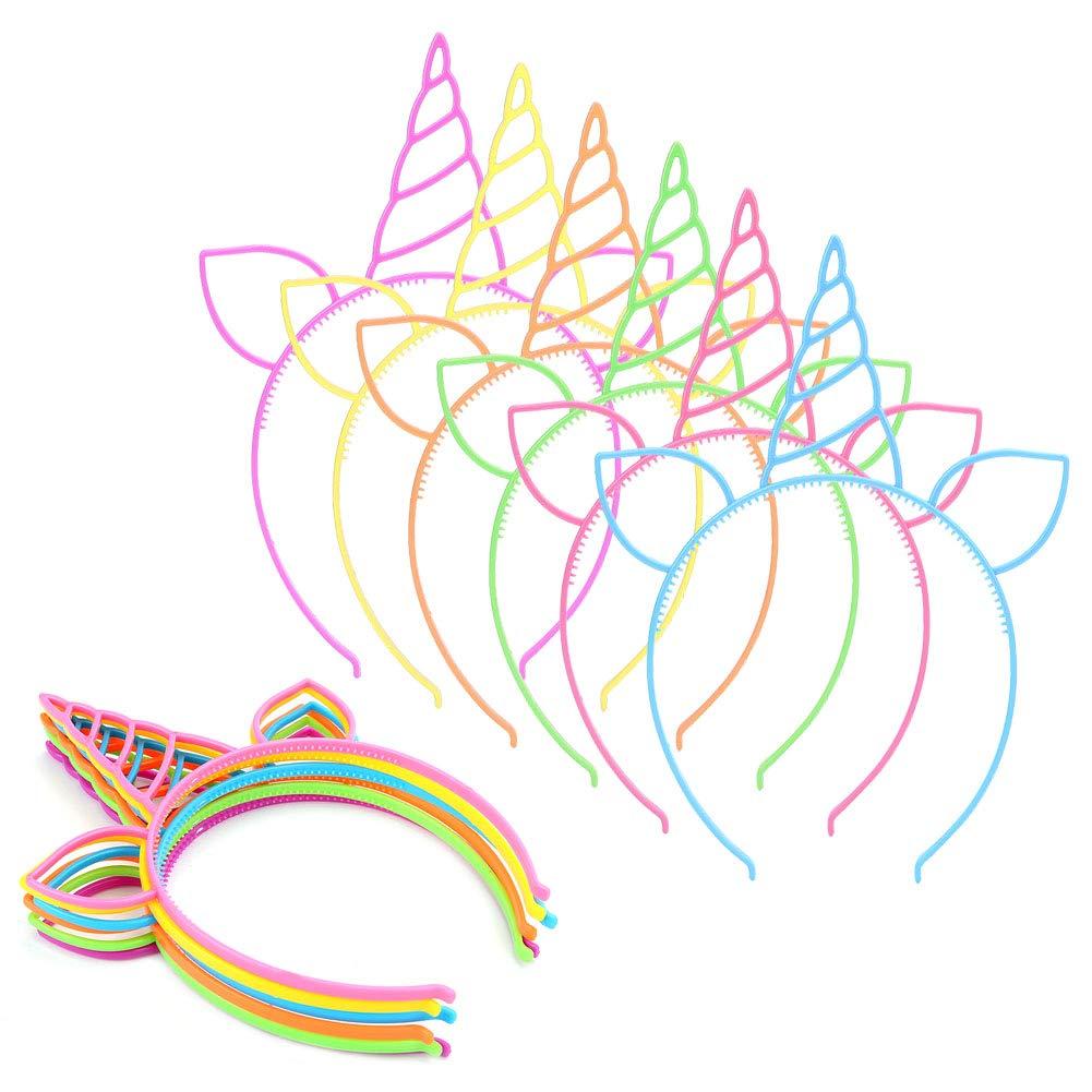 Jiangeshuh 24 unidades de diademas de unicornio para fiestas Halloween diademas de pl/ástico para ni/ñas para cosplay Navidad suministros de orejas de gato fiestas cumplea/ños