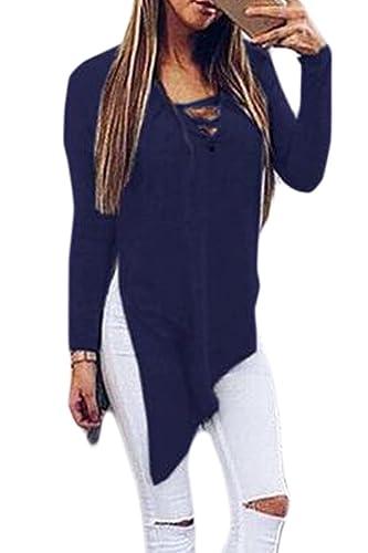 Zuvebamyo Las Mujeres Blusa Asimetrica Cuello V Venda Profunda Hendidura Top T Shirt