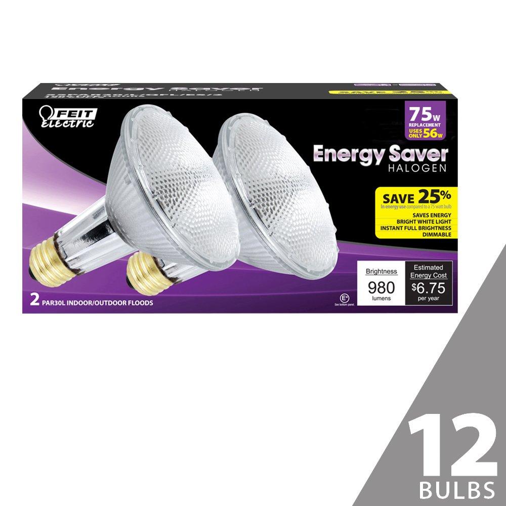 Feit 55PAR30/L/QFL/ES/2 75W Equivalent Energy Saving Halogen PAR30 Long Neck Reflector (Pack of 12)