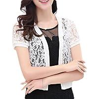 Womens Short Sleeve Shrug Lace Bolero Open Front Cropped Cardigan