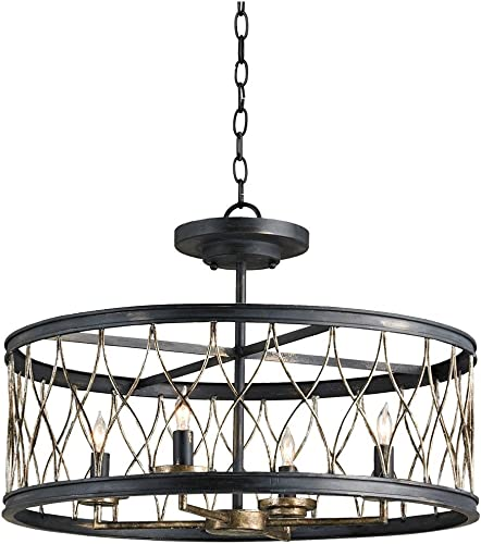 Currey and Company Crisscross 22 Wide Black Chandelier