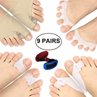 Bunion Splints, Bunion Corrector, Bunion Relief Protector Sleeves Kit for Cure Pain in Big Toe Joint, Hammer Toe, Hallux Valgus, Tailors Bunion, Toe Separators, Foot Supports of Bunion in Toe 9 Pack