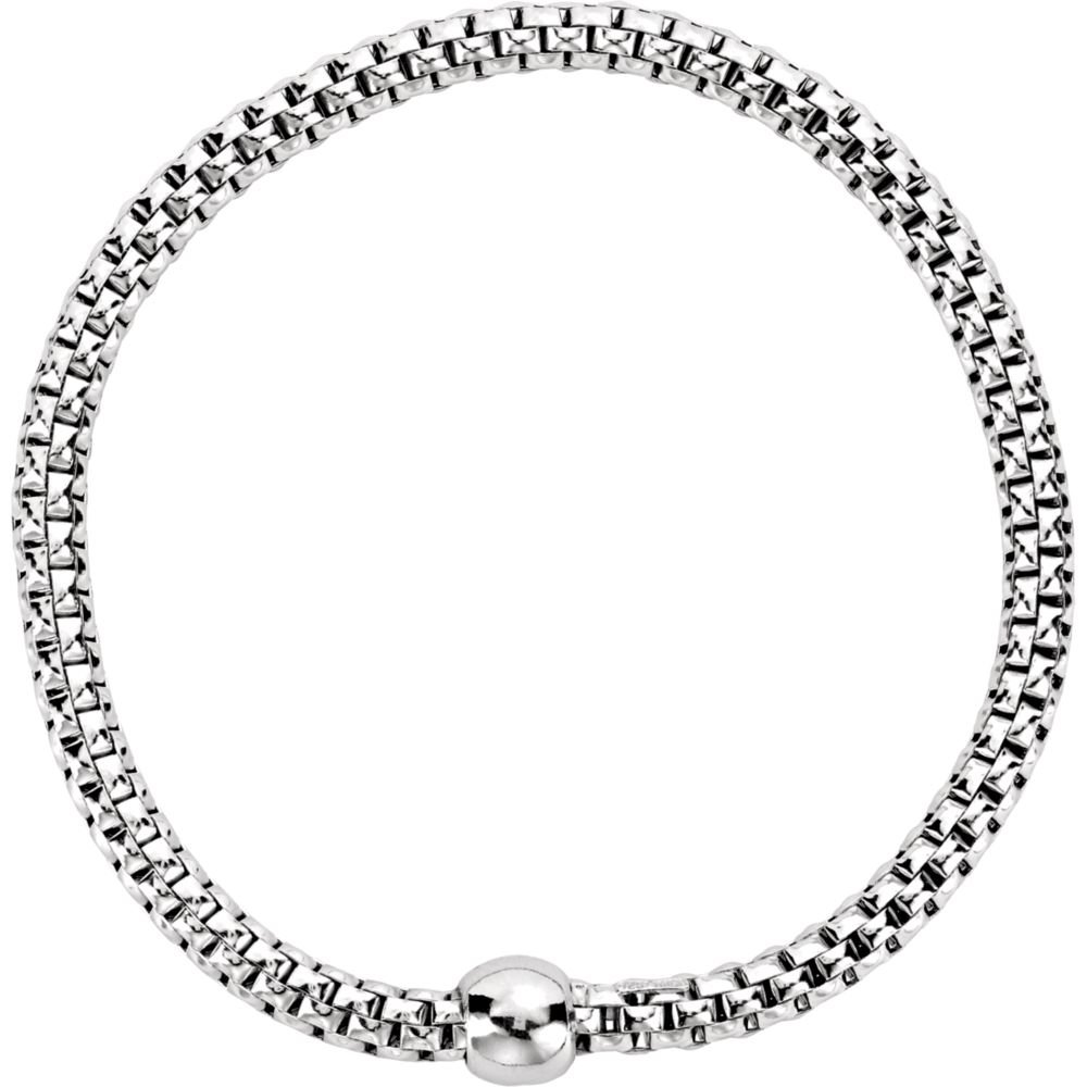 Woven Strecth Bracelet, 4.3mm Wide, in Rhodium-Plated Sterling Silver