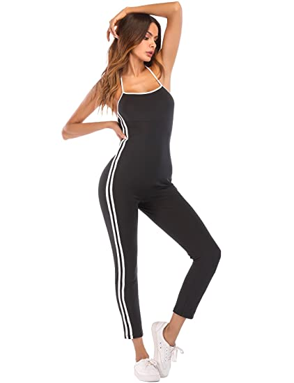 9c74a520545 Image Unavailable. Image not available for. Color  Sedrinuo Women Sexy  Halter Backless Jumpsuit Striped Side One Piece Long Pants Bodycon Romper